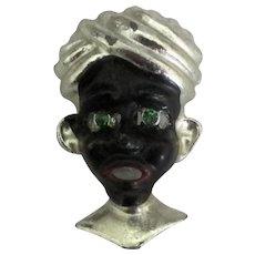 Vintage Blackamoor Brooch with Green Rhinestones