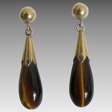 Rich 14K Tiger Eye Tear Drop Pierced Earrings