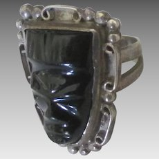Vintage Sterling Carved Onyx Mask Ring