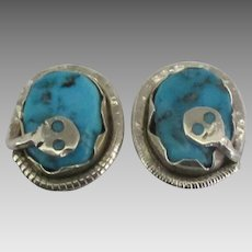 Zuni Sterling Turquoise Effie C Rattlesnake Earrings