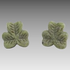 Irish Cannemara Marble Shamrock Pierced Earrings