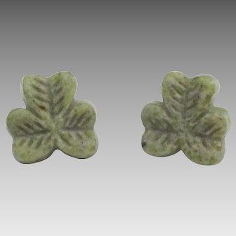 Irish Cannemara Marble Shamrock Pierced Earrings