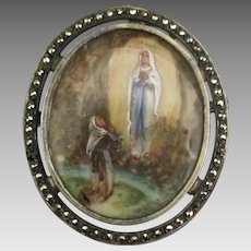 Vintage Large Hand Painted Blessed Mother Mary Pendant or Brooch