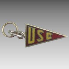 Vintage USC Enamel Sterling Pennant Charm