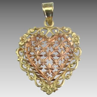 Fancy 14K Beverly Hills Rose and Yellow Gold Heart Pendant
