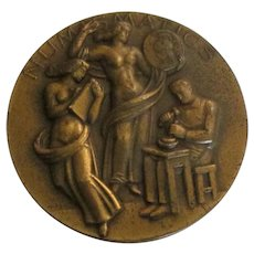 Vintage Brass Award with Figural Nudes