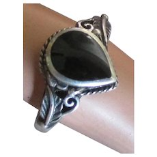 Vintage Sterling Onyx Poison Compartment Ring