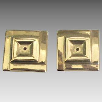 14K Square Modernist Pierced Earring Jackets