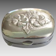 Lovely Sterling Repousse Vanity or Pill Box