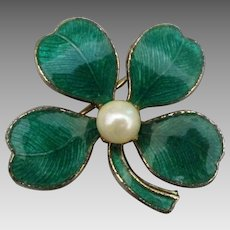 Vintage Enamel Faux Pearl Four Leaf Clover Pin