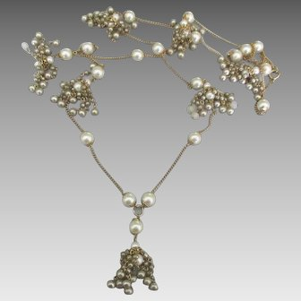 Flirty Vintage Faux Pearl Tassel Dangles Necklace- 49 Inches!