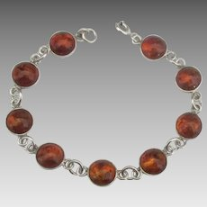 Vintage Sterling Baltic Amber Bracelet