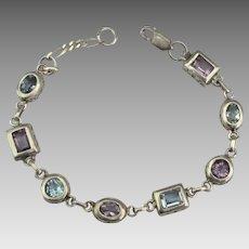 Sterling Amethyst Blue Topaz Gemstone Bracelet