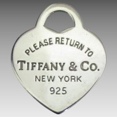 """Authentic Sterling """"Please Return To Tiffany & Co"""" Heart Pendant or Charm"""