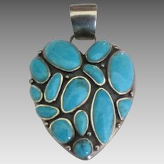 Bold Sterling Turquoise Signed Barse Heart Pendant
