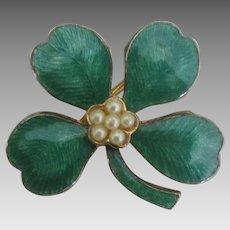 Enamel Faux Pearl Four Leaf Clover Pin