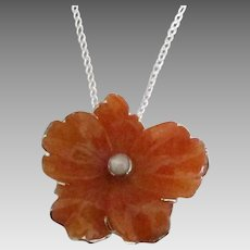 Lovely Sterling Carved Carnelian Flower Pendant with Chain