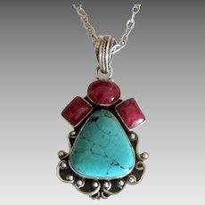 Stunning Sterling Turquoise Natural Ruby Pendant & Chain