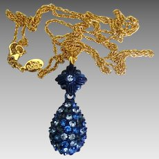 "Signed Joan Rivers Blue Rhinestone Egg Pendant with 30"" Chain"