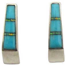 Signed Sterling Turquoise Opal Inlaid Pierced Earrings