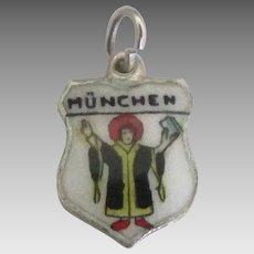 Munich Germany Enamel Sterling Travel Shield Charm