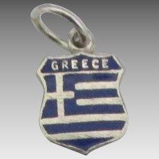 Vintage Sterling Greece Travel Shield Charm
