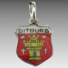 Vintage Enamel 835 Bitburg Germany Travel Shield Charm