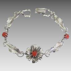 Lovely Sterling Coral Flower and Leaves Bracelet