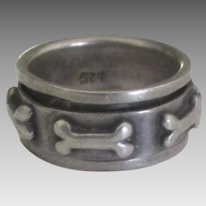 Charming Sterling Spinner Ring with Dog Bones