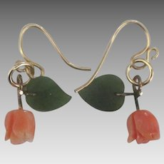 Carved Coral and Jade Gold Fill Pierced Earrings