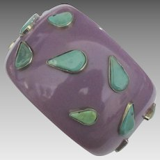 Wide Purple Lucite Bangle with Genuine Turquoise