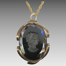 Large Black Glass Intaglio Female Pendant and Chain