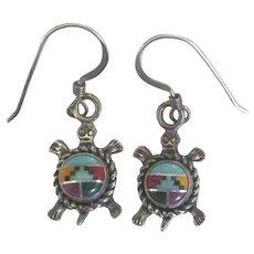 Zuni Sterling Inlaid Turtle Pierced Earrings