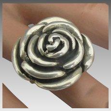 Stunning Sterling Large Rose Ring