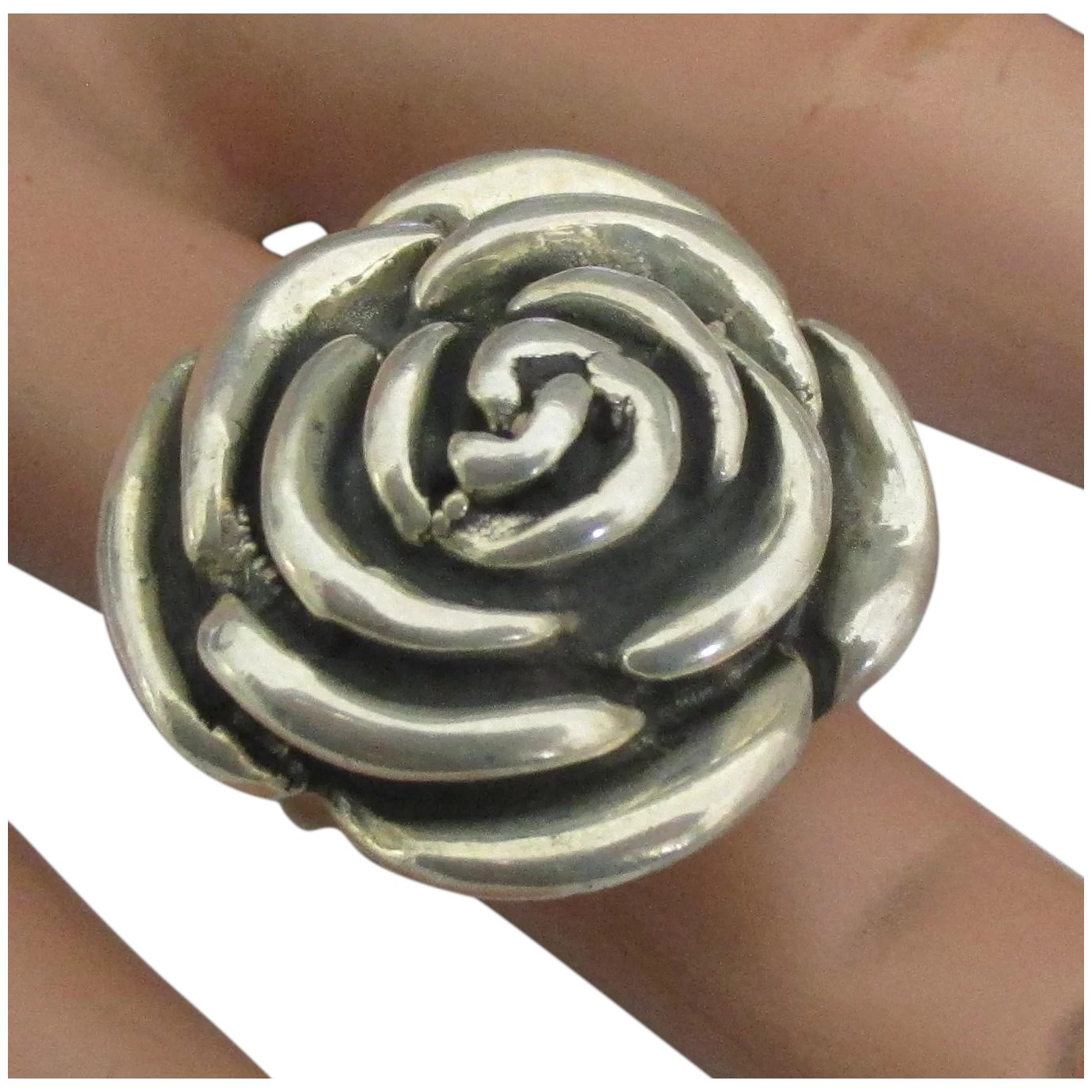 .925 Sterling Silver Rose Ring