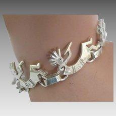 "Charming Sterling ""Kokopelli""Link Bracelet"