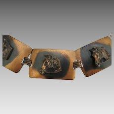 Vintage Copper Horse Head Link Bracelet