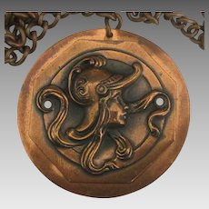 Large Female in Helmet Copper Pendant and Chain