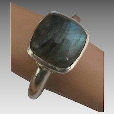 Beautiful Sterling Labradorite Ring- Size 7 1/2