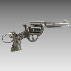 Vintage Sterling Revolver Pistol or Gun Charm