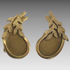 Rare Vintage Sauteur Renoir Gold Tone Earrings