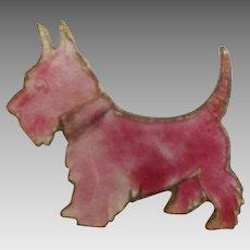 Adorable Pink Guilloche Enamel Scottie or Westie Pin