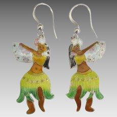 Fun Enamel Hula Dancer Pierced Earrings