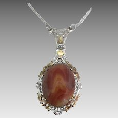 Signed Sterling Filigree Gold Jasper Lavalier Necklace