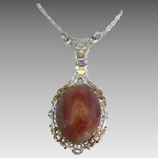 Sterling Filigree Gold Overlay Jasper Pendant and Chain