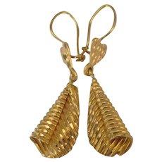 Beautiful 22K YG Dangle Pierced Earrings