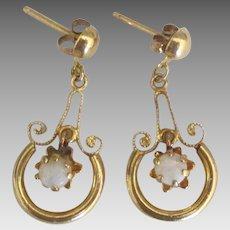 Pretty 14K Opal Dangle Pierced Earrings