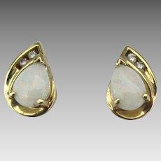 Pretty 14K Diamond Opal Pierced Stud Earrings