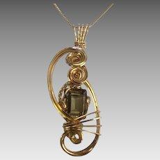 Artistic Vermeil Sculpted Wire Pendant