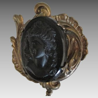 Large Early 1900's Jet Glass Mourning Brooch with Dangle